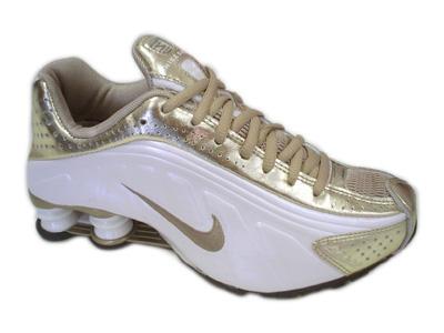 3784b4fe059 Store Mix Nike shox R4 Cromado Branco Dourado . ...